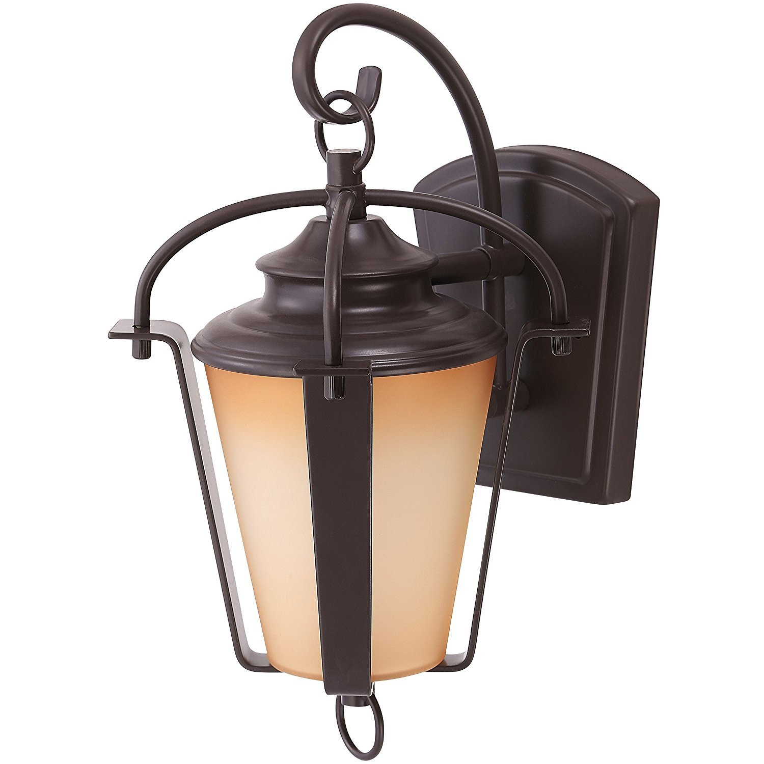 LB75230 LED 15W Outdoor Wall Lantern, 16'' Oil Rubbed Bronze with Amber Alabaster Glass, (75W Replacement) 3000K Warm White, 500 Lumens, Waterproof and Outdoor Rated, ETL-Listed