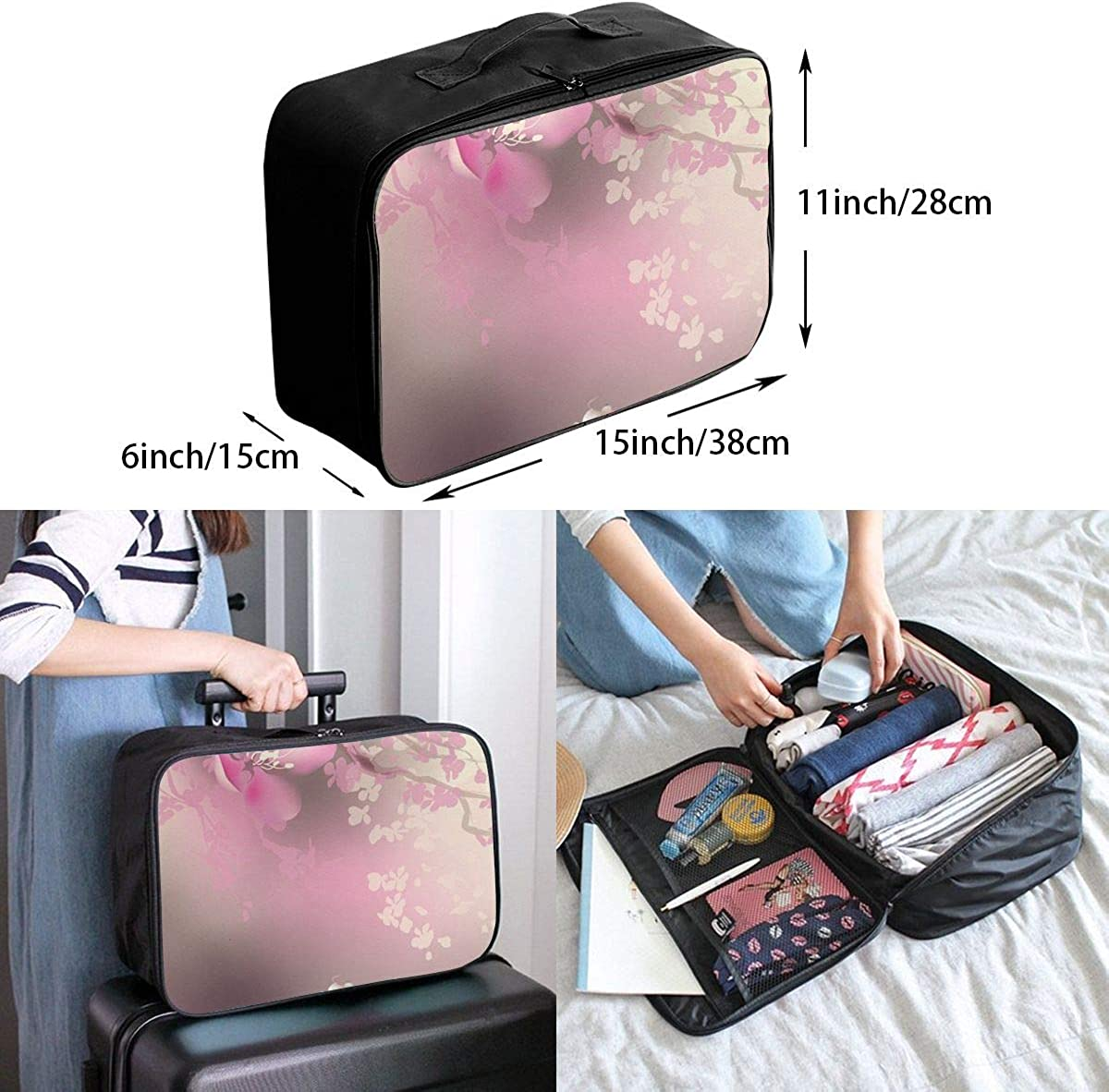 Pink Cherry Blossom Koi Travel Lightweight Large Capacity Portable Luggage Bag Suitcase