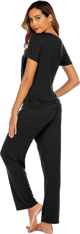 MAXMODA Damen Stillschlafanzug umstandsschlafanzug schwanger Schlafanzug Stilltops mit Stillfunktion Stillpyjama Baumwolle mit Hose