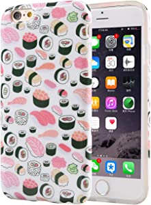 Cute Protective Phone Case for iPhone 6s and iPhone 6, Unique Soft Flexible TPU Silicone Cover for iPhone 6 / 6s (Seamless Sushi Sashimi Pattern)