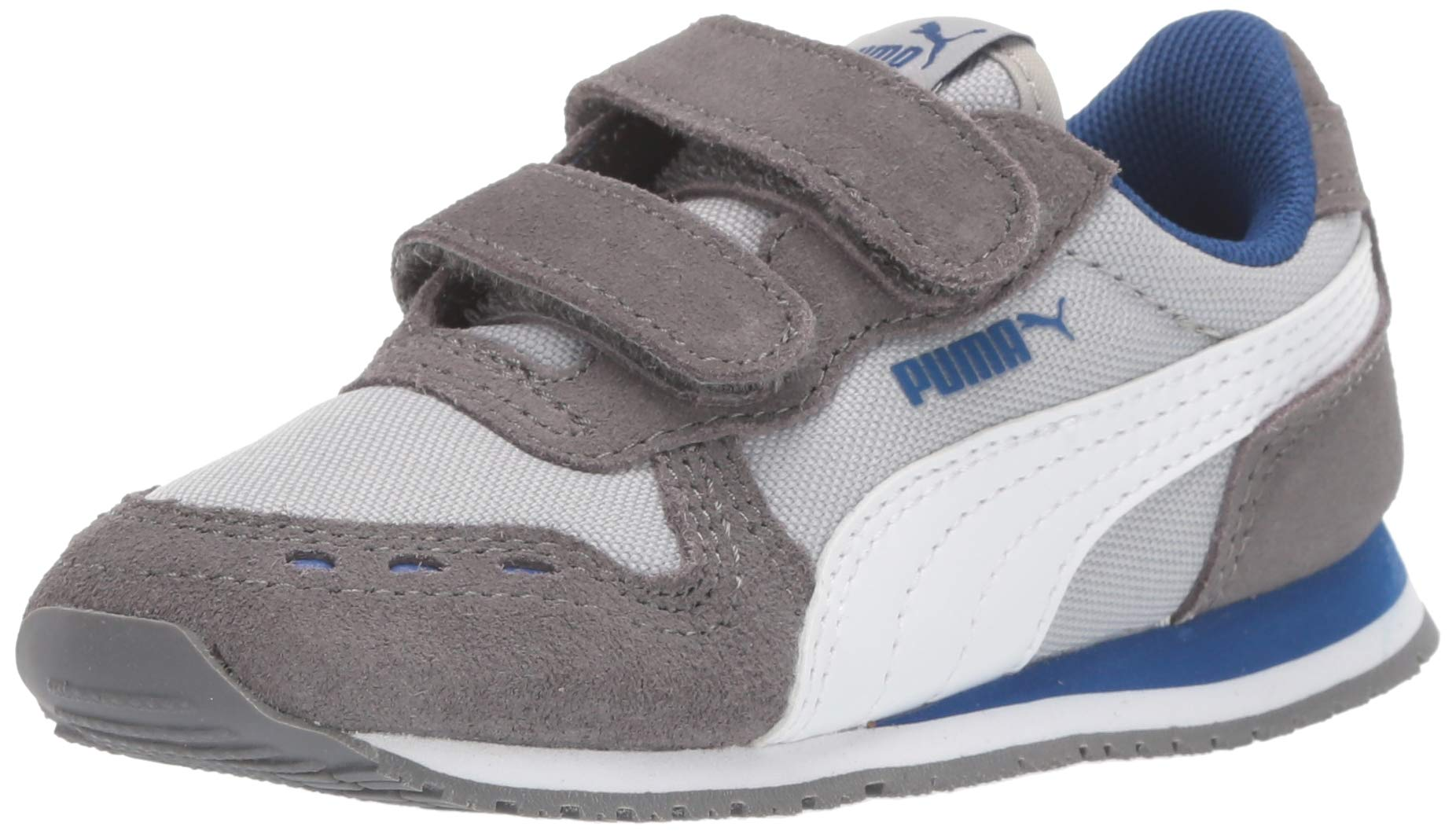 PUMA Baby Cabana Racer Velcro Sneaker, High Rise-Castlerock White-Galaxy Blue, 9 M US Toddler by PUMA