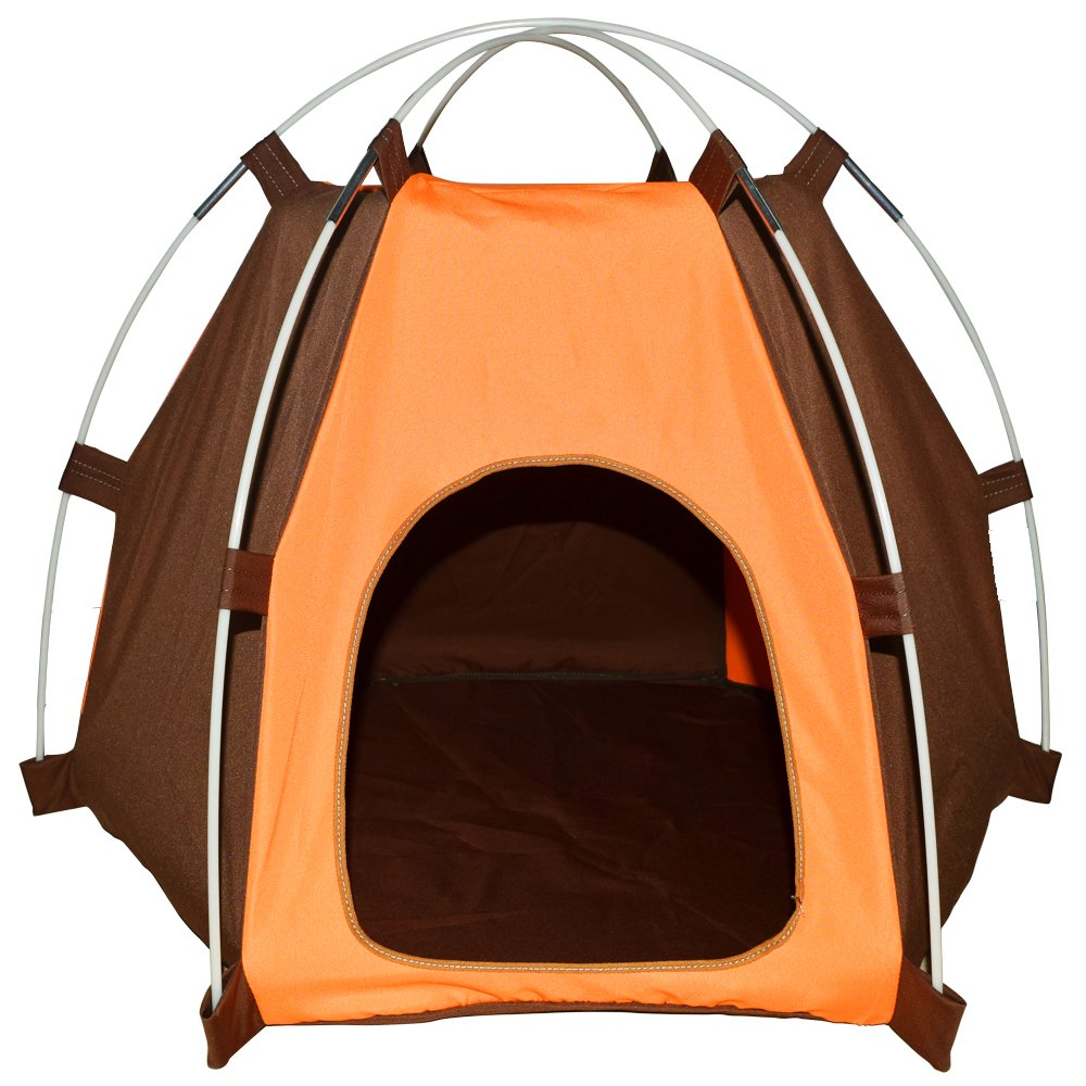 Lifeunion Waterproof Pet Dog Tent House Detachable Pet Hexagon Kennel Tent with Extra Strong Stick, Crate for Small Medium Dog Outdoor Activities (Orange)