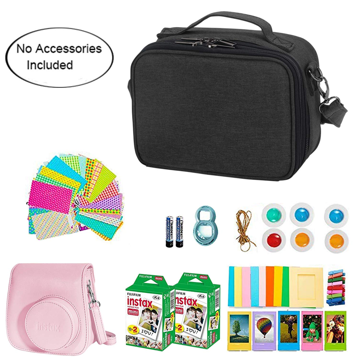 Teamoy Protective Case Compatible with Fujifilm Instax Mini 8 Black Bag Only Travel Carrying Storage Case for Instant Camera and Accessories Min 9