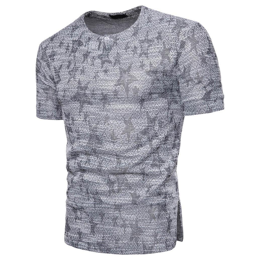hmeng para hombre botón de algodón de manga corta camiseta de ...