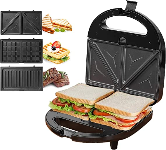 KotiCidsin Sandwich Maker, Waffle Maker, Sandwich Grill, 750-Watts, 3-in-1 Detachable Non-stick Coating, LED Indicator Lights, Cool Touch Handle, Anti-Skid Feet, Black