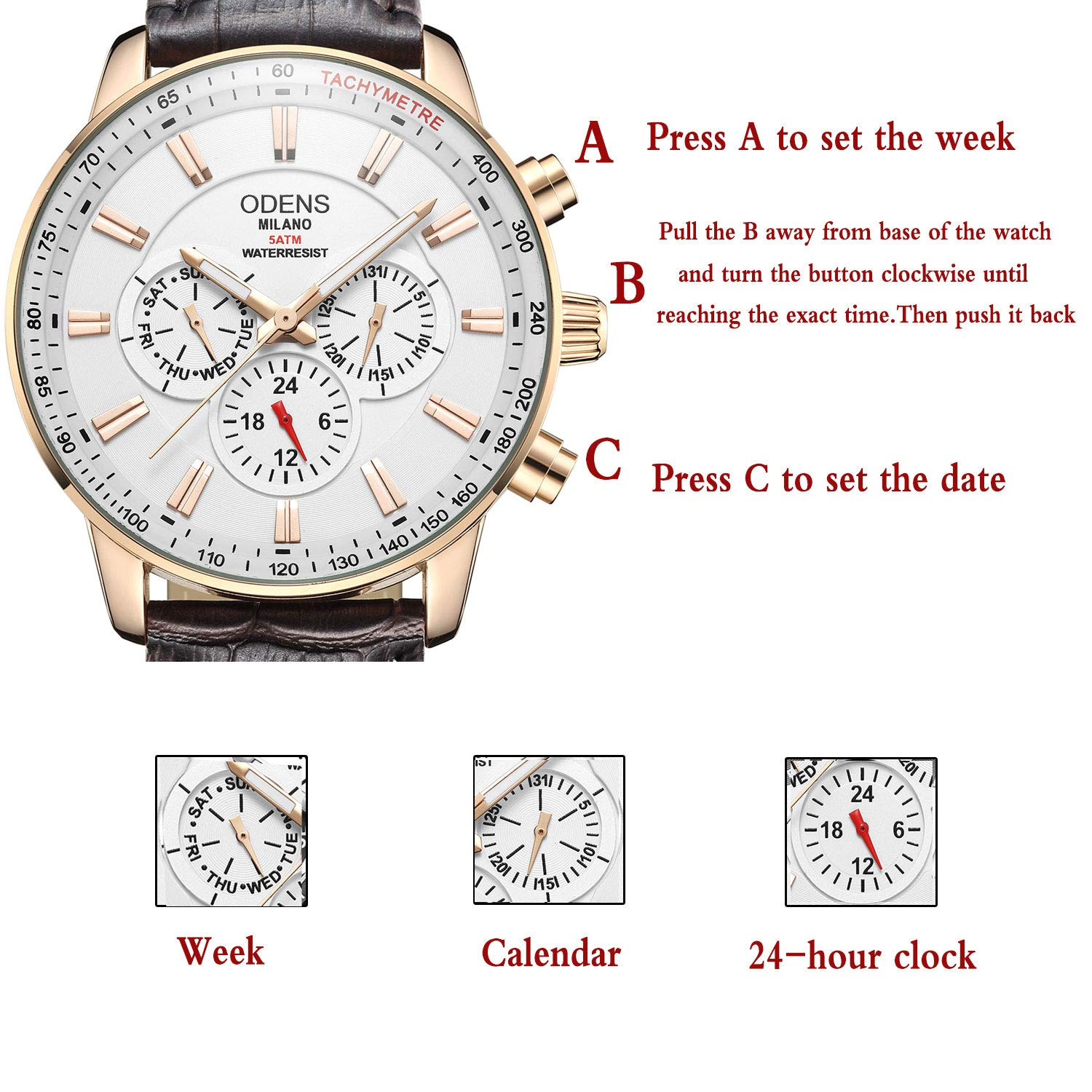Amazon.com: Mens Big Face Black Leather Watch,Quartz Waterproof Date Week Display Analog Wrist Watches (Brown): Watches