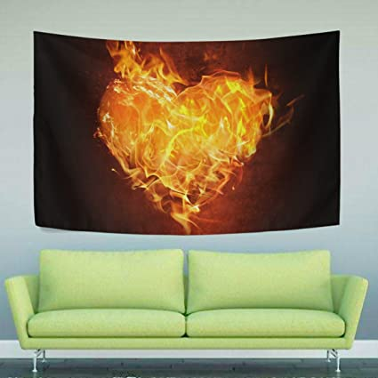 Amazon Com Wihve Heart Fire Flame Tapestry Yoga Mat Wall Hanging