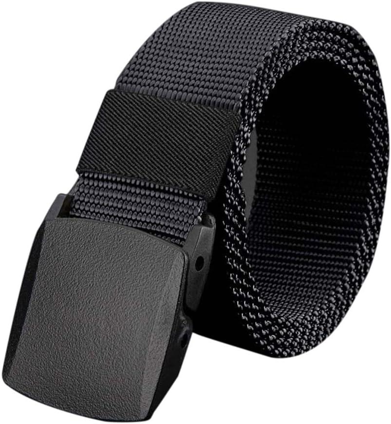 Cinturón de lona de los hombres al aire libre no de metal hebilla de plástico Casual Jeans entrenamiento de cintura Bobury