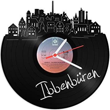 Skyline ibbe nbüren Reloj de pared de vinilo placa Reloj upcycling Design Reloj de pared de
