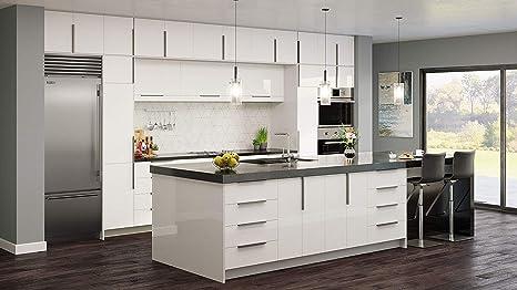 Amazon.com : Gloss White Cabinet Modern Comtemporary Wood ...