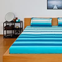 Solimo Spectra Stripe 100% Cotton Double Bedsheet with 2 Complimentary Pillow Covers