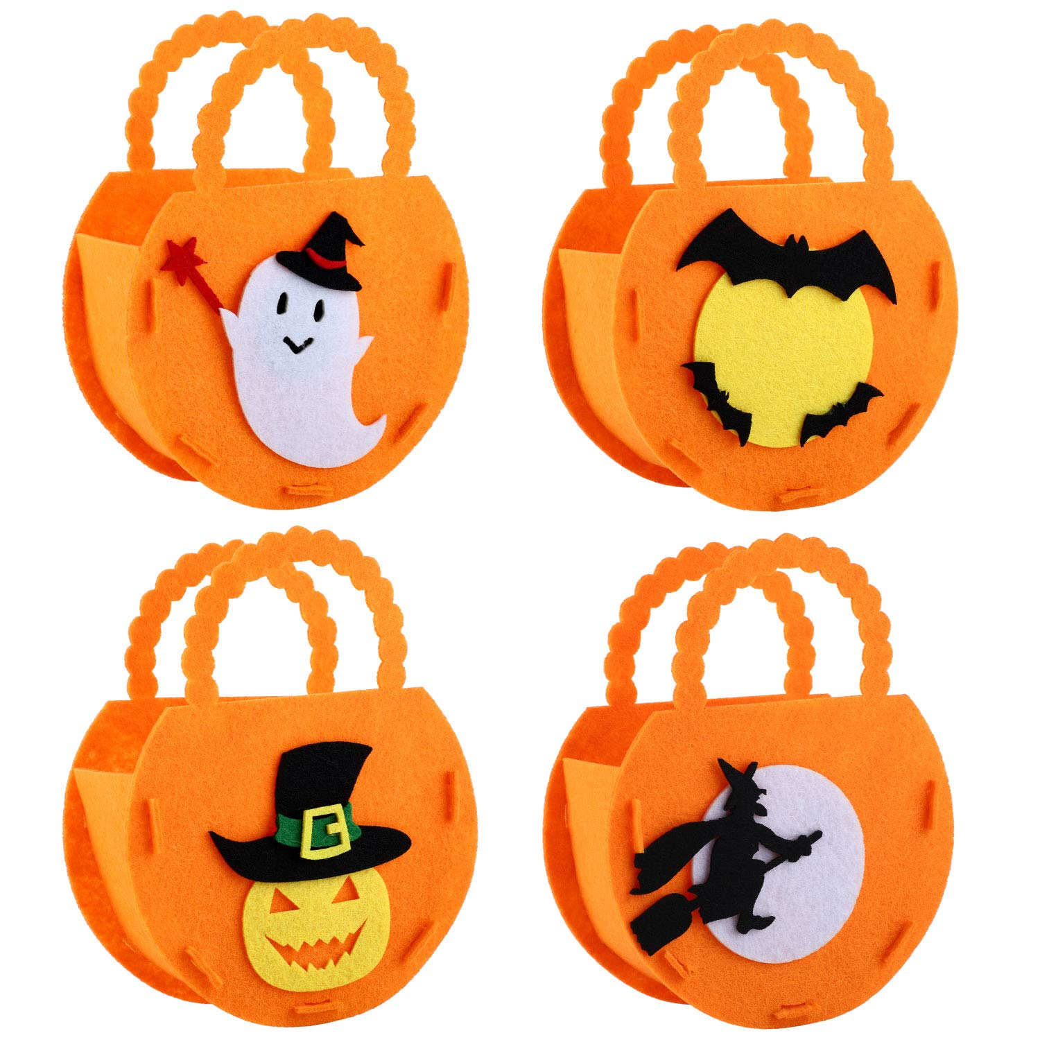 4 Styles 4 Pieces Halloween Tote Bags Trick or Treat Bag Non-Woven Fabric Candy Bags Halloween Goodie Gift Bags for Party Supplies