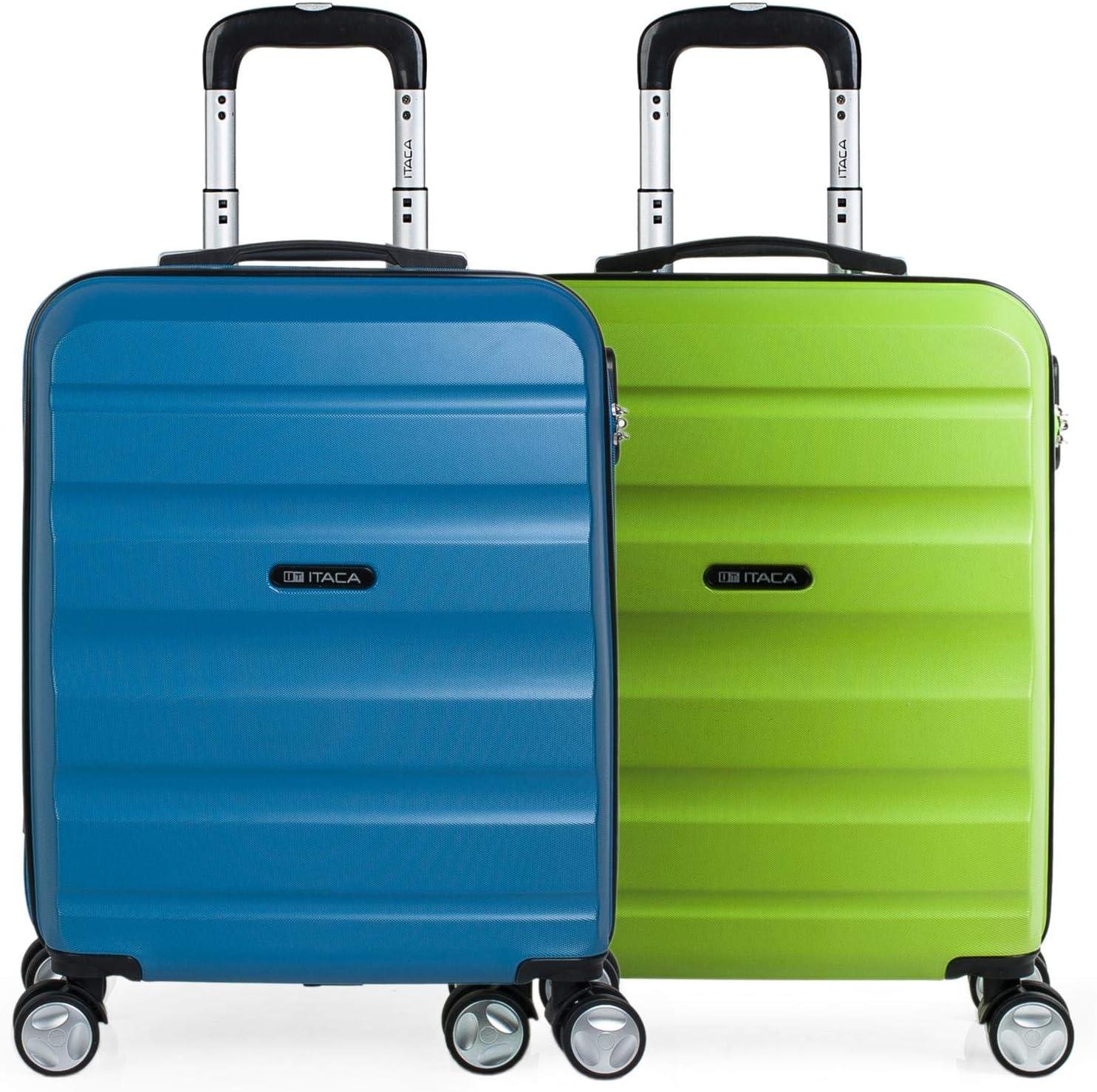 ITACA - Set 2 Maletas Pequeñas para Viaje en Pareja. Rígidas 4 Ruedas 55x40x20 cm Cabina Trolley ABS. Equipaje de Mano. Cómodas y Ligeras. Ryanair. Calidad y Diseño. T71650P, Color Azul/Pistacho