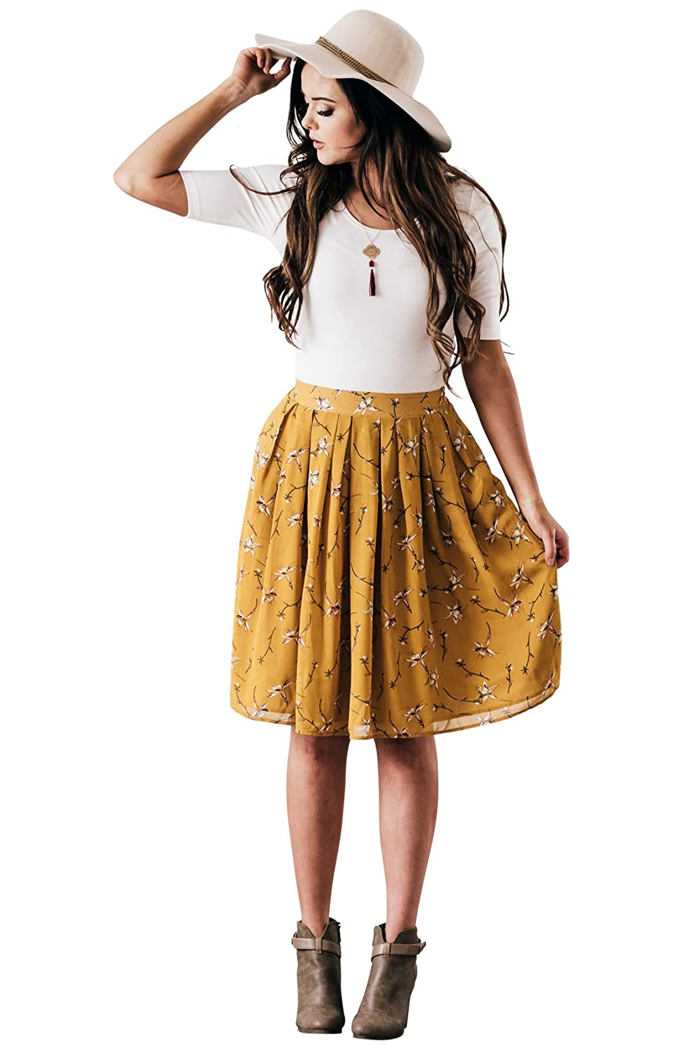 b3f684887abc Mikarose Knee-Length Chiffon Modest Skirt in Mustard Yellow w/Floral Print