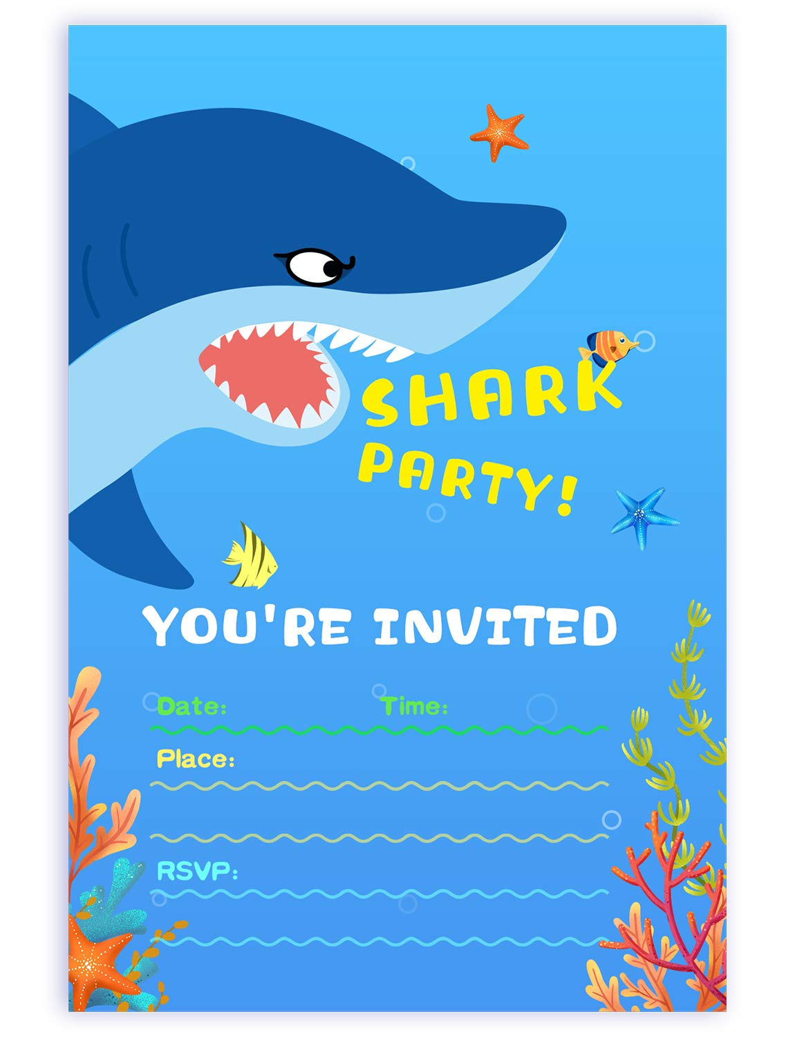 Amazon.com: 25 Pack Shark Birthday Party Invitations with ...