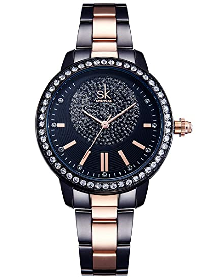 Alienwork Reloj Mujer Relojes Acero Inoxidable Negro Analógicos Cuarzo Impermeable Strass Purpurina Elegante