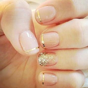 Yean False Nails 24Pcs Set Fake Bridal Full Cover Nude Pink Gold Glitter Nail