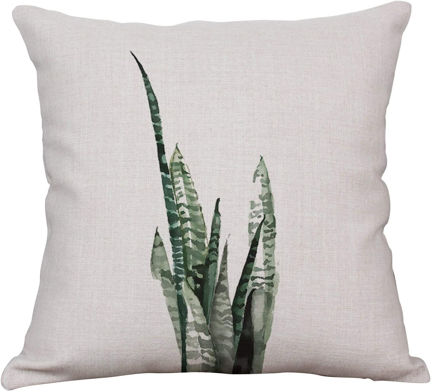 Amazon Com Yeeju Green Fern Leaf Throw Pillow Covers Decorative Cushion Covers Square Cotton Linen Outdoor Couch Sofa Home Pillow Covers 16x16 Inch Home Kitchen