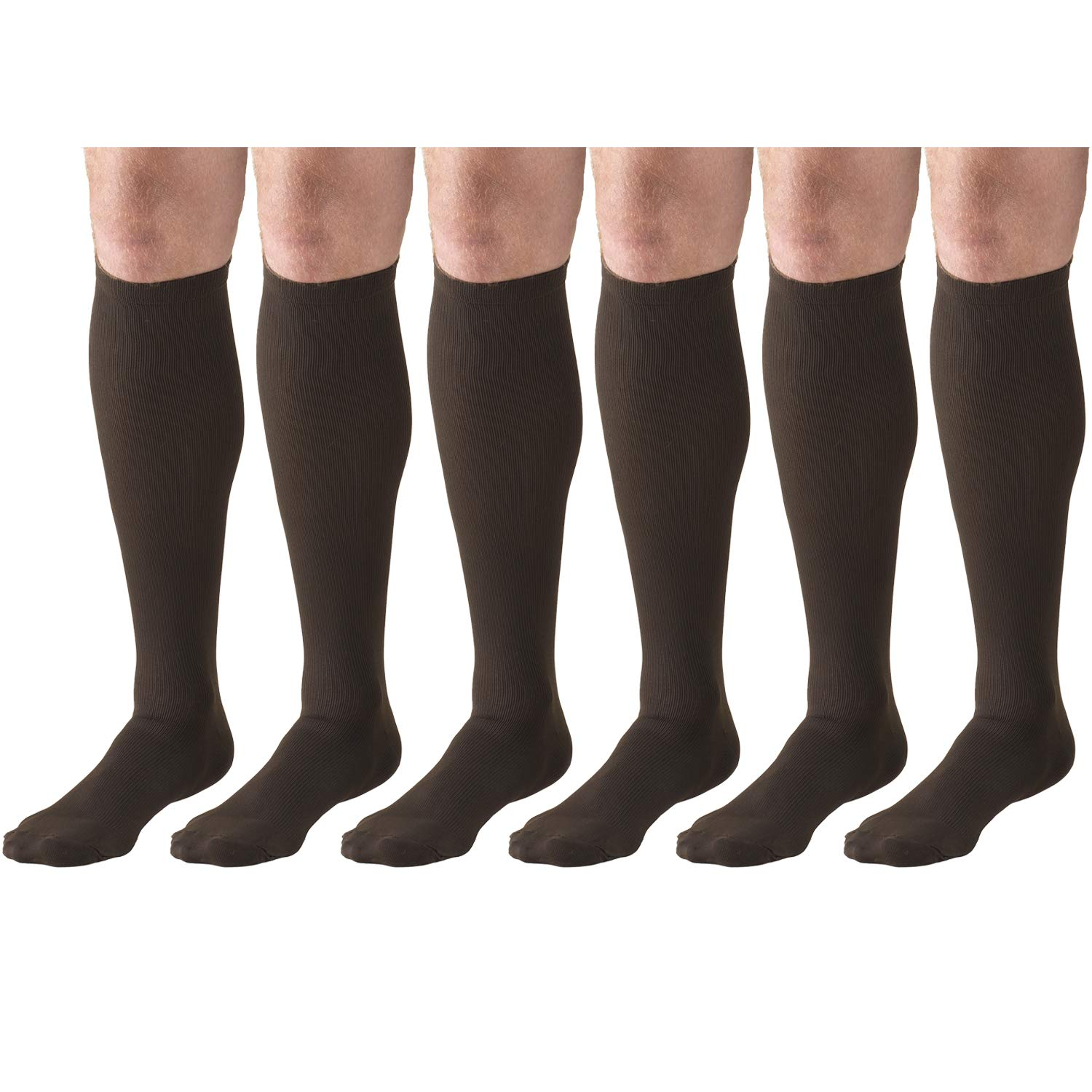 Compression Socks, 15-20 mmHg, Men's Dress Socks, Knee High Over Calf Length Brown X-Large (6 Pairs)