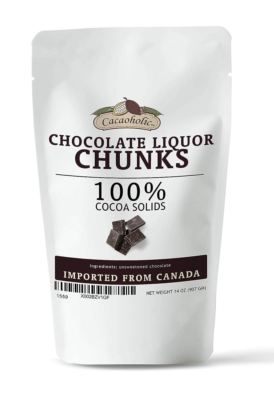 14 oz Cacaoholic Chocolate Liquor Chunks | Unsweetened Chocolate Chunks | 100% Cocoa Mass Chunks | Resealable Stand Up Pouch