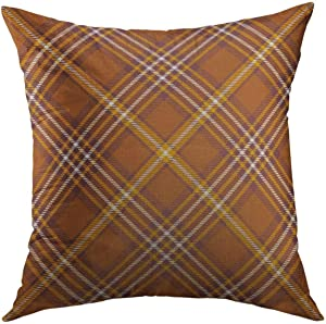 Mugod Decorative Throw Pillow Cover for Couch Sofa,Border Tartan Plaid Pattern Checkered in Stripes of Golden Brown Orange Dark Reddish White Check Home Decor Pillow case 18x18 Inch