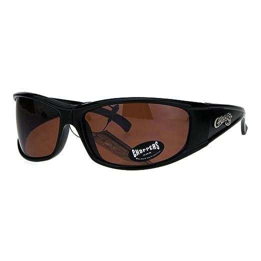 d4d74bef810 Choppers Mens Rectangular Gangster Warp Biker Plastic Sunglasses Black Brown