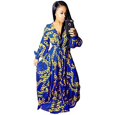 S-XL Women Maxi Dresses Fashion Deep V-Neck Digital Print Sexy Fabulous Big