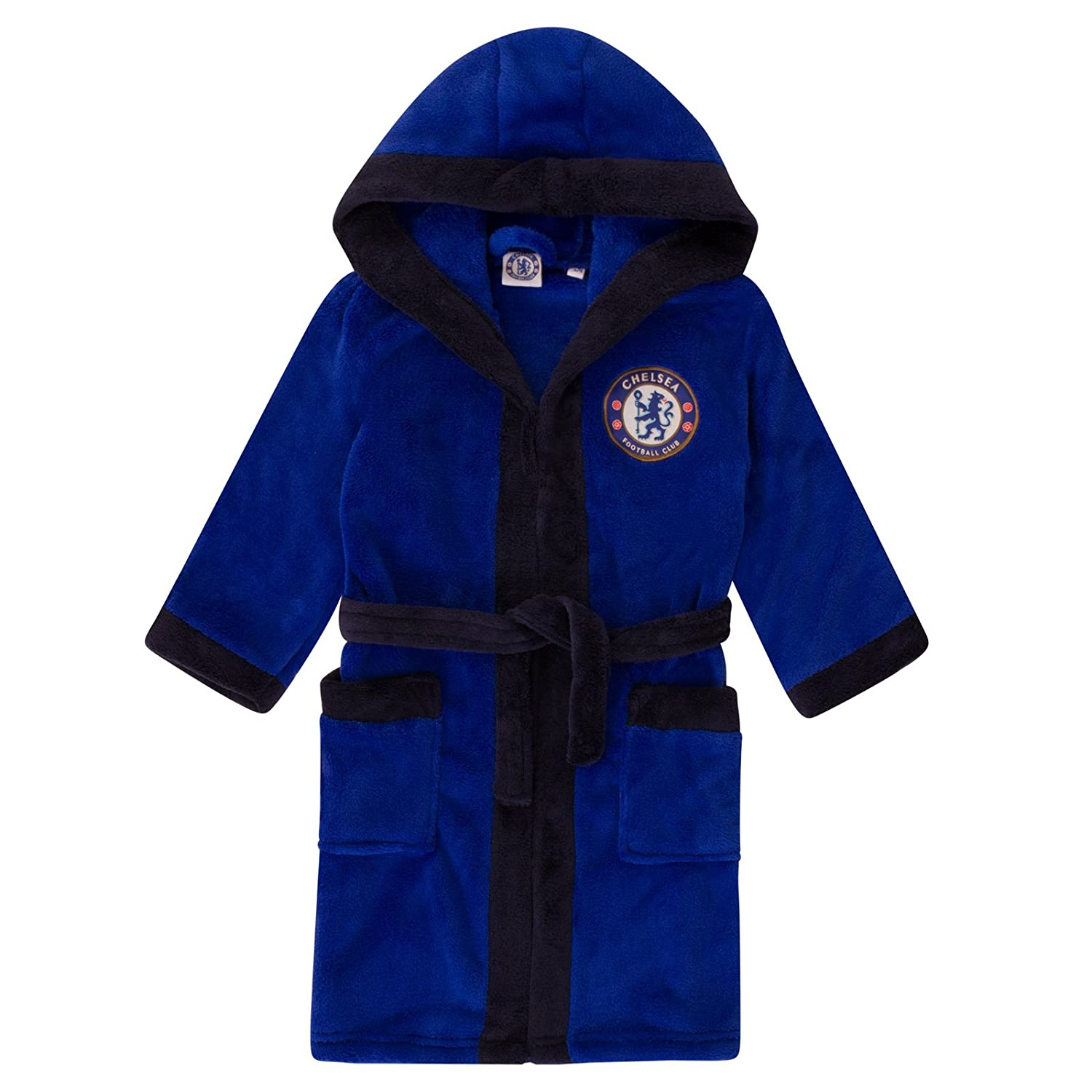 Chelsea FC Official Football Gift Boys Hooded Fleece Dressing Gown Robe