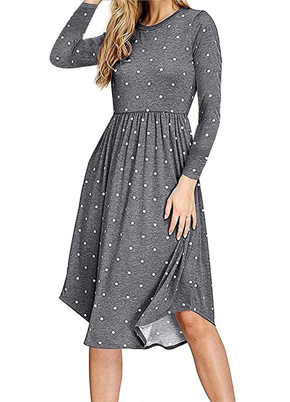AMCLOS Women Pleated Polka Dot Pocket Swing Casual Midi T Shirt Dress Long Sleeve (Grey, L)