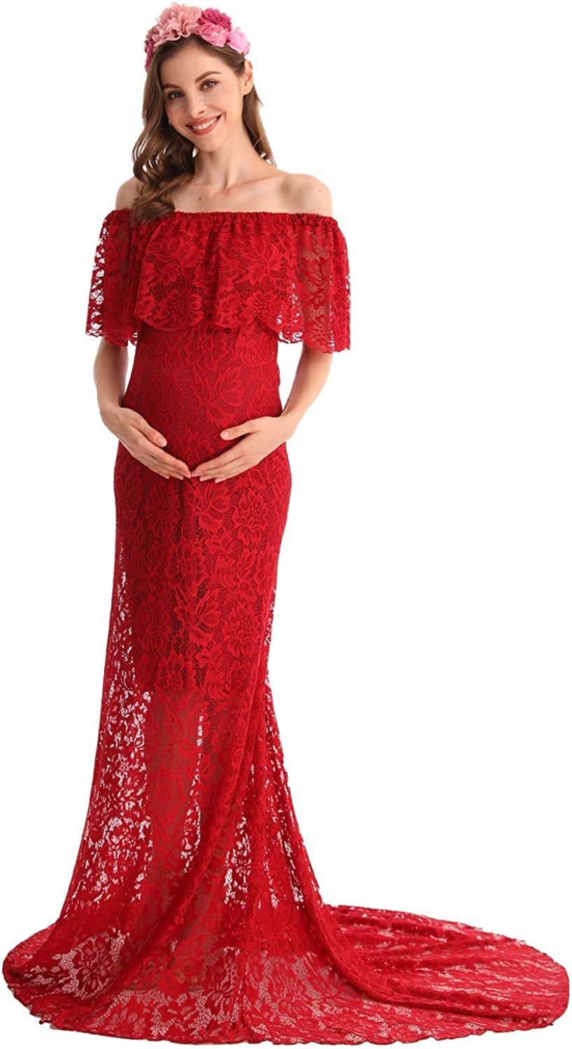 Myrisam Women Off The Shoulder Lace Maternity Dress Wedding Evening Baby Shower Dress Maxi Photography Gown With Train At Amazon Women S Clothing Store
