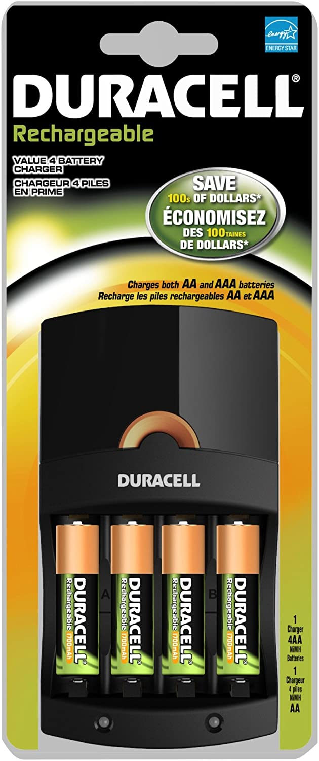 Duracell Value Charger With 4aa Rechargeables Battery, 4 Count
