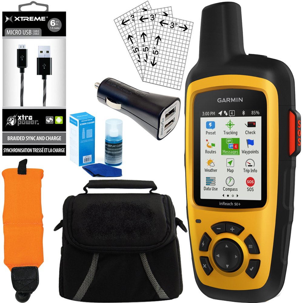 Garmin InReach SE+ GPS Bundle w/ Car Charger, Micro USB, Gadget Bag and more