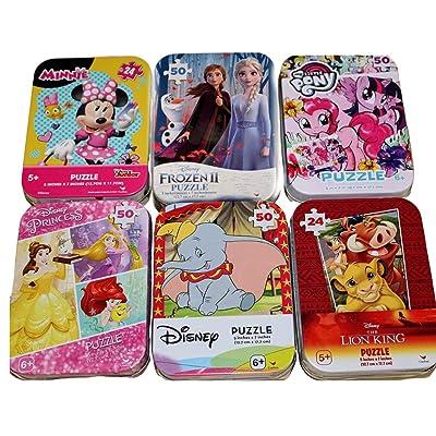 6 Collectible Puzzle Tins Ages 5+ Gift Set Bundle Lion King My Little Pony Disney Princess Vampirina Minnie Mouse Dumbo 24/50 Pieces: Toys & Games
