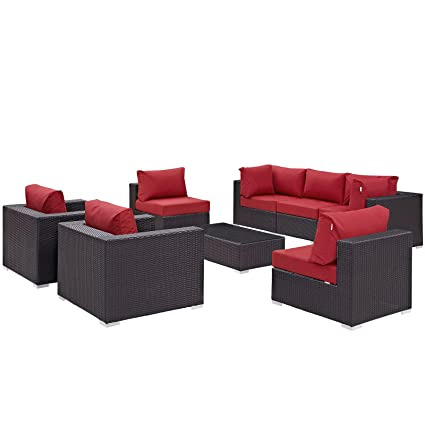 Modway Convene Wicker Rattan 8 Piece Outdoor Patio Sectional Sofa Furniture  Set In Espresso Red
