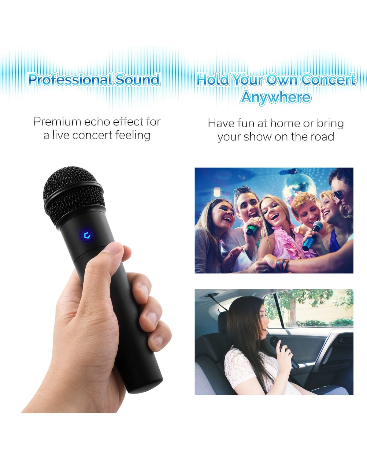 Cobble Pro Wireless Karaoke Microphone 2-pack Mic [Source Vocal Removal Technology][Choose Unlimited Music Source from YouTube, Compatible with iPhone iPad Phone Tablet] New Model BT Speaker Machine by Cobble (Image #4)