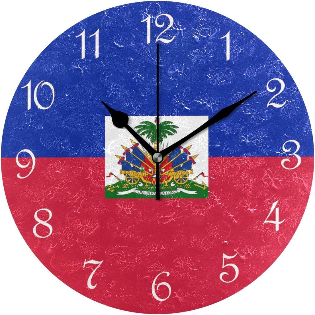 "Nugier Haiti Flag Round Wall Clock Silent Non Ticking Custom Acrylic Painted Easy to Read Non-Ticking Home Art Bedroom Living Dorm Room Decor 9.45""x9.45"""