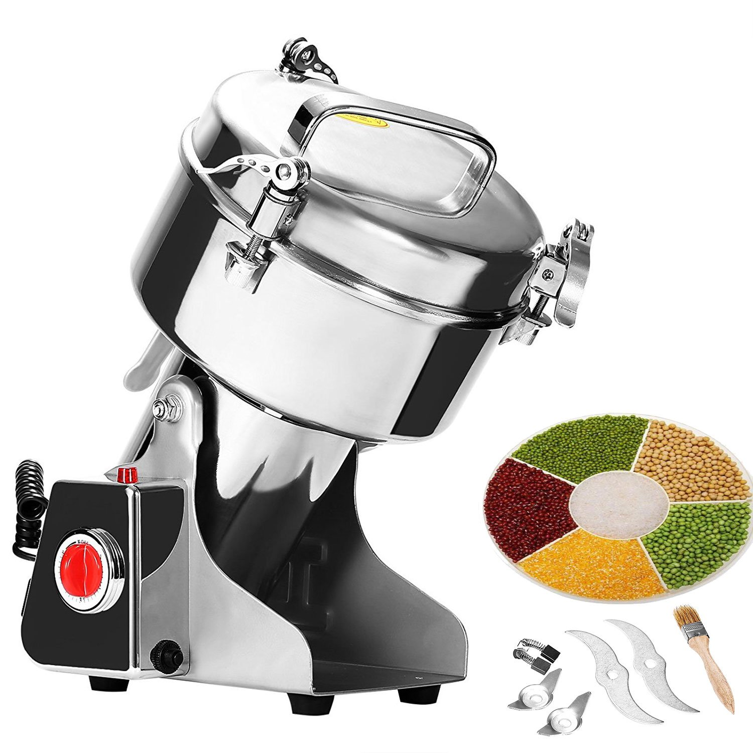 Happybuy Grain Grinder 1000g Mill Powder Machine Swing Type Commercial Electric Grain Mill Grinder for Herb Pulverizer Food Grade Stainless Steel (1000g) by Happybuy