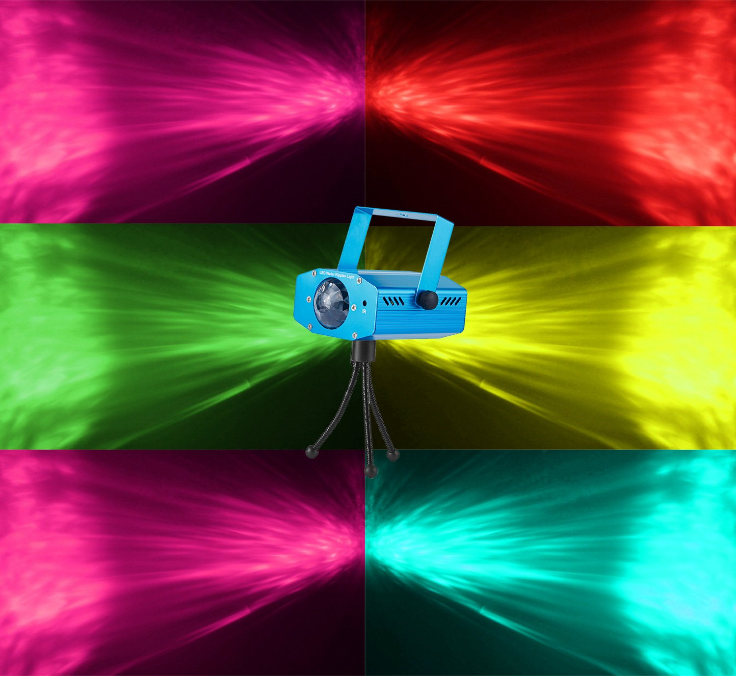 Party Projector Stage Light, PEMOTech 7-Color Ocean Wave Sound Activated Strobe Light Disco Ball Light Remote Control LED Projector Light for Party, Disco, DJ, KTV, Club, Wedding, Christmas by PEMOTech (Image #2)