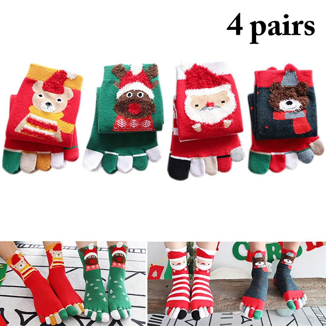 Zoylink 4 Pairs Christmas Toe Socks Elk Santa Bear Cotton Crew Socks for Women Men