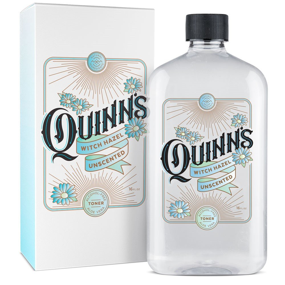 Quinn's Alcohol-Free Witch Hazel 16oz – Unscented Aloe Vera Natural Toner for Face & Skin Quinn's