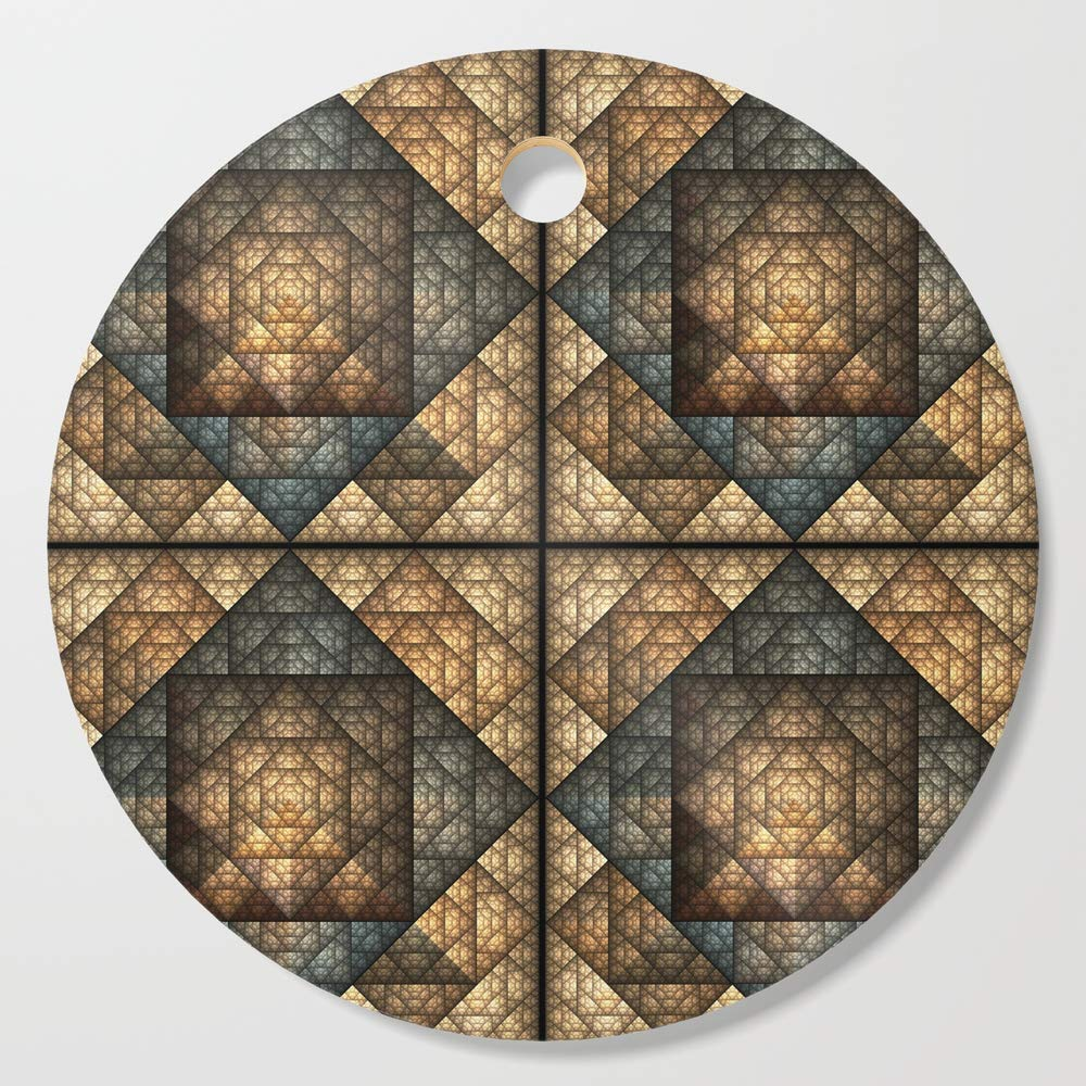 Society6 Wooden Cutting Board, Round, Church Window Pattern by lllcreations