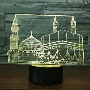 HPBN8 3D Islam Castle Night Light Illusion Lamp 7 Color Change LED Touch USB Table Gift Kids Toys Decor Decorations Christmas Valentines Gift