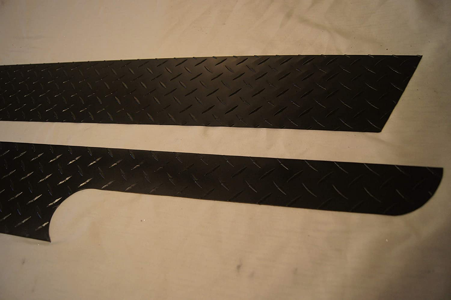 1987-1995 Jeep YJ Wrangler Matte Black Diamond Plate Side Rocker Panel 6 '' INCHES Wide with Cut Outs JEEPERSCREEPERS