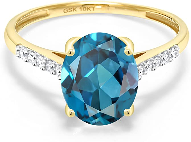 AT Jewels 1 CT Elegant 14k Yellow Gold Over 925 Sterling Silver Pear /& Round Cut Blue Topaz Halo Engagement Ring