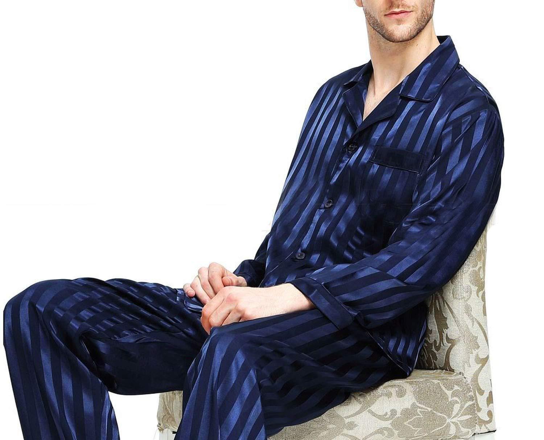 Mens Silk Satin Pajamas Set Pajama Pyjamas Set Sleepwear Set Loungewear,Navy Blue,L