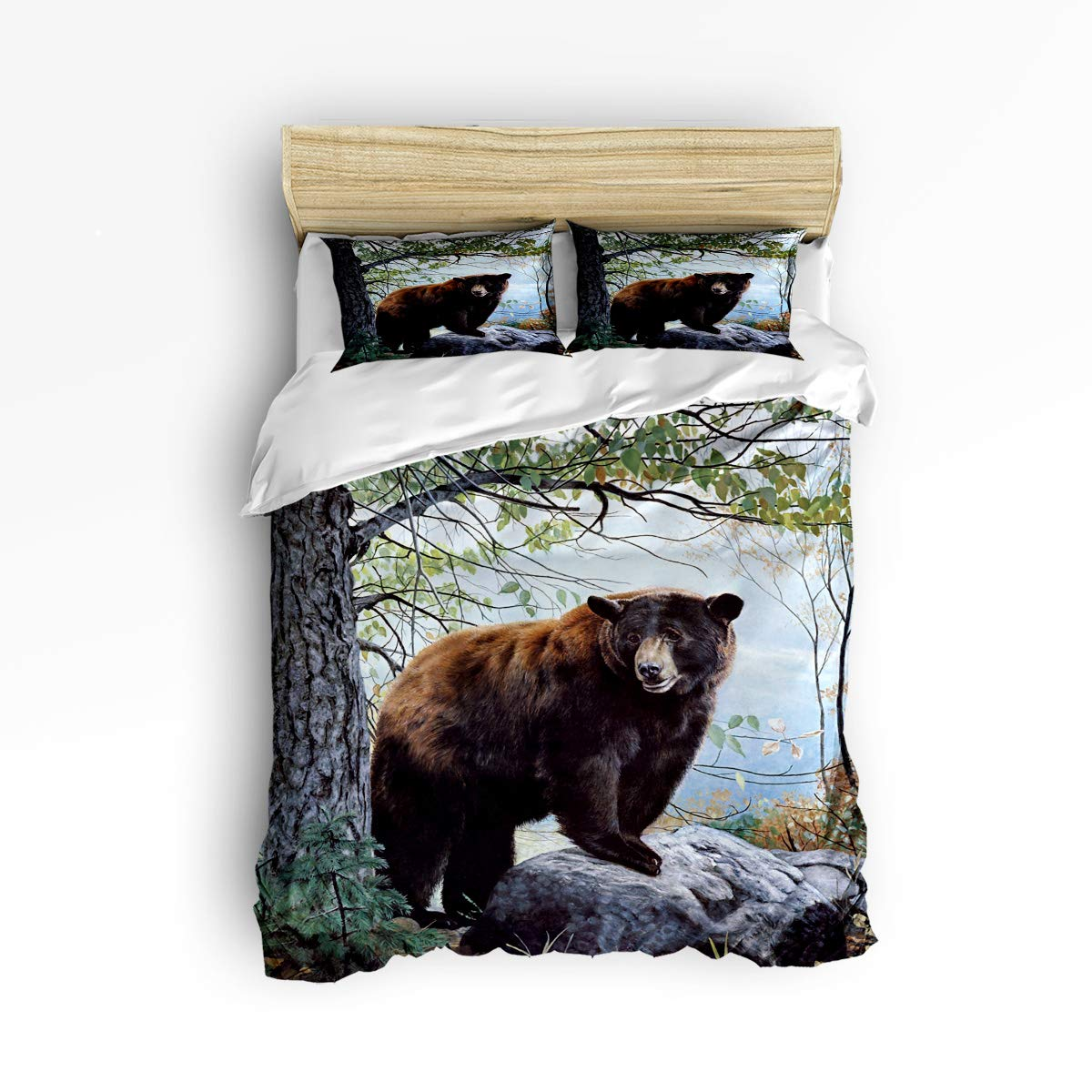 YEHO Art Gallery Full Size Cute 3 Piece Duvet Cover Sets for Boys Girls,Cute African Women with Brown Hair Pattern,Decorative Bedding Set Include 1 Comforter Cover with 2 Pillow Cases