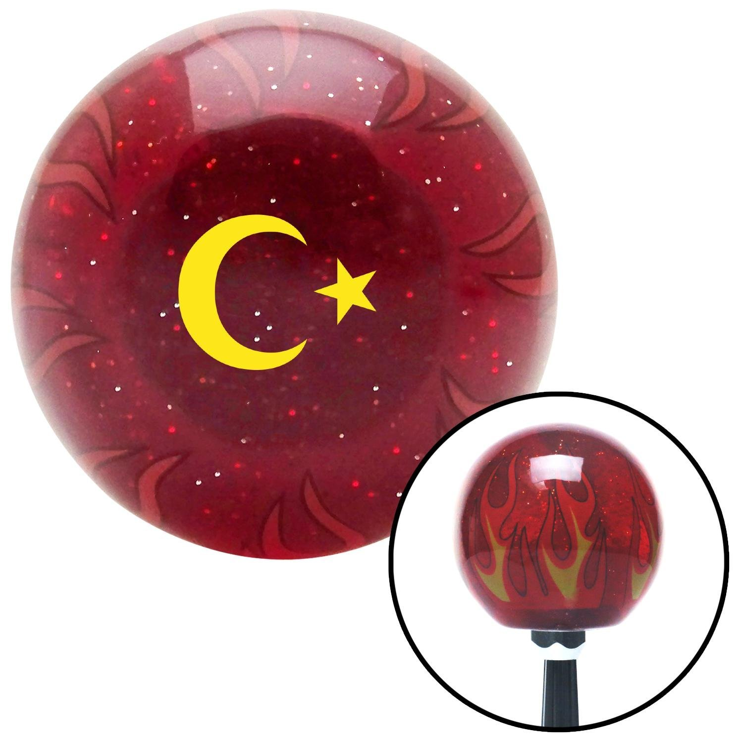 Yellow Symbol of Islam American Shifter 238703 Red Flame Metal Flake Shift Knob with M16 x 1.5 Insert