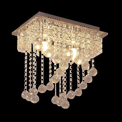 Glighone Lámpara Colgante Cristal LED 2*E14 40W Lámpara de ...