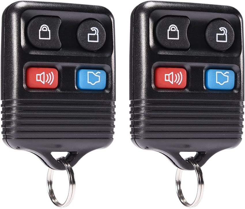 MICTUNING Keyless Entry Remote Control - Car Key Fob 4 Button Clicker Transmitter Replacement for Ford, Lincoln, Mercury, Mazda Mustang Explorer Escape Focus Fusion Taurus (Black, 2 Pack)