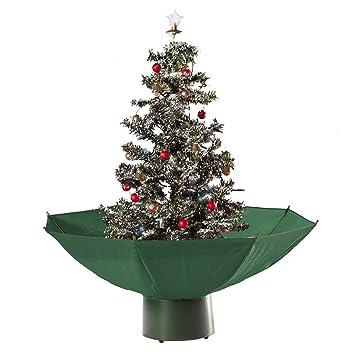 Tannenbaum Mit Schneefall.Hiskøl Künstlicher Selbstschneiender Weihnachtsbaum Christbaum Tannenbaum Mit Schneefall In 75cm Höhe Mit Grünem Schirm